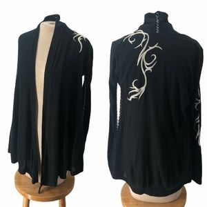 Xtaren Embroidered Open Front Cardigan Shrug Wrap
